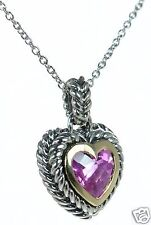 Solid 925 Sterling Silver Two-tone Rope Border Pink Heart CZ Necklace '