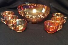 Vtg. Jeannette Glass Marigold Carnival Glass Christmas Egg Nog Set~Bowl & 6 Cups