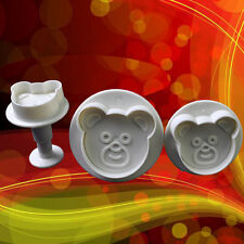 3 pcs Bear Cake Fondant Sugarcraft Cutter Plunger Cookies Decorating Tool Mould