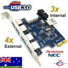 USB 3.0 PCI-Express Card for Desktop PC - 7 Ports (4 Ext. + 3 Int.) NEC Chipset