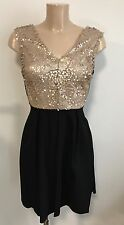 BEAUTIFUL GOLD SEQUIN AND BLACK SKATER PARTY OCCASIONS DRESS SIZE 10