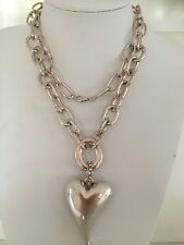 Free Shipping Vintage Antique  Silver Plated Long Chain HEART Necklace