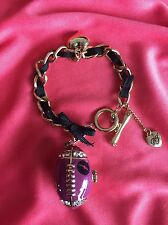 Betsey Johnson Vintage Varsity Crush Pink Football #1 Lips Locket Box Bracelet