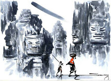 Original Ink and Water Color – Temple Scene with Buddha Images and People 5131