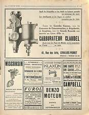 Réclame Pub Carburateur Claudel Avertisseur Klaxon Carte-Guide Campbell 1914 WWI
