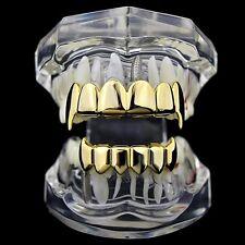 Best Grillz 14k Gold Plated Full Fang Set Top Bottom Vampire Fang Hip Hop Teeth
