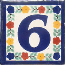 Mexican Tile Talavera Ceramic House Numbers Tile 4x4