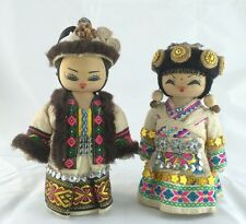 Pair of Vintage Chinese Wooden Dolls in Ethnic Minority Costumes
