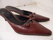 Cole Haan D12218 Burgundy Point Tip Pump Kitten Heel Bow Womens  Size 7.5 AA