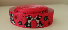 "1 yard - 22mm (7/8"") wide HOT PINK/BLACK/WHITE FRENCH BULLDOG GROSGRAIN RIBBON"