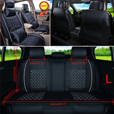 Black+White Car Seat Cover 5-Seats Front & Rear Cushion Pillow PU Leather Size L