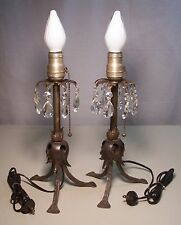 Vtg Old Rustic Hammered Wrought Iron Prism Lamp Light Pair Rewired USA #E66