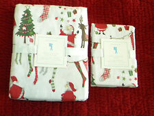 NWT Pottery Barn Kids Christmas Santa & Friends Twin Flannel Duvet Cover w/ Sham