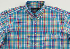 Men's RALPH LAUREN Aqua Colors Plaid Shirt 2XB BIG (2XL / 2X BIG) NWT NEW
