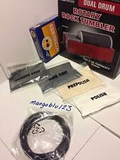 6lb  DUAL DRUM ROTARY ROCK TUMBLER SMOOTH POLISHER JEWELRY KIT GRIT PACK & BELTS