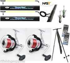 SEA FISHING SET 2 X 12FT BEACHCASTER RODS + 2 X REELS + TRIPOD + WEIGHTS + RIGS