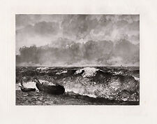 """Exciting Jean Desire GUSTAVE COURBET Antique 1800s Print """"Waves of the Sea"""" COA"""