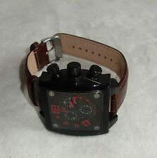 ADEE KAYE MENS WATCH BLACK  DIAL BROWN LEATHER band AK7115-M- IP new
