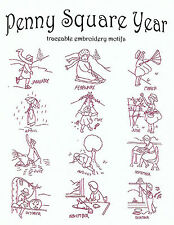 PENNY SQUARE YEAR Vtg. Embroidery Transfer Pattern