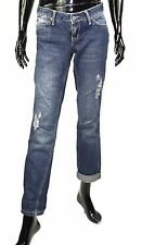 GJ2-120 Mango Boyfriend Damen Jeans blau W28 L32 ripped tapered leg Used Look