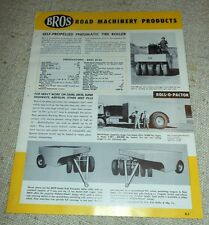 Brochure Macchine agricole - BROS Road Machinery Products 1960 ca