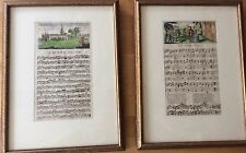 Vintage Pair Musical Note Prints Matted Gold Wood Framed
