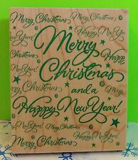Hero Arts 1997 S1324 Rubber Stamp SUPER MERRY CHRISTMAS GREETING