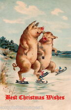 Vintage Art~Two Cheerful Ice Skating Pigs~NEW Large Christmas Note Cards