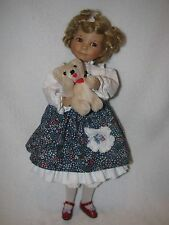 "14"" Blonde Curly Hair Goldilocks Porcelain Doll W/ Bear By Artist Diana Effner"