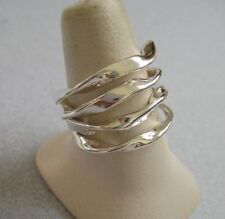 Mexican 925 Silver Taxco Modern Solid Twisted Lines Shiny Big Ring Size 8.75 New