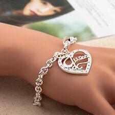 Femmes Bijoux Bracelet Plaqué Argent Cristal Chaine Pendentif Cadeau Chic Mode