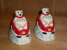 Coca-Cola Polar Bear Mama and Cubs on Sleds Salt and Pepper Shakers