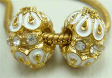 Clover Faberge Egg Bead Drip Gum Lime Clear Crystal Fit sterling 925 Bracelet p1
