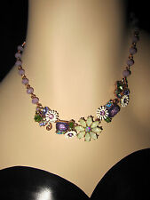 Betsey Johnson SPRING FLING PURPLE AND COPPER FLOWERS AND BLING NECKLACE