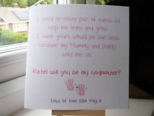 Handmade Personalised Will You Be My Godparents Godmother Godfather Card