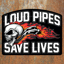 LOUD PIPES SAVE LIVES Sticker 130x100mm Biker Motorcycle Bobber Chopper Car VW