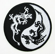 DRAGON YIN YANG Sign Symbol Biker Embroidered Iron Sew On Patch FREE SHIPPING 2#