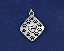 Sterling Silver Plt Paw Print Charm Square Love Rescue Dog Cat Pet Lover Gift