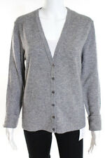 Michael Kors Heather Gray Cashmere V-Neck Button Down Cardigan Sweater Size Larg
