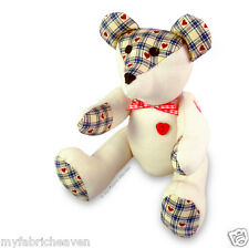 """Teddy Bear Sewing PATTERN & Full Instructions Make Your Own Cute 9"""" Fabric Bear"""
