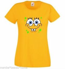 Señoras Bob Esponja Lady Fit Camiseta Sponge Bob Square Pants Amarillo Top Fun Xl