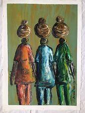 PITTURA africani OLIO / ACRILICO locale originale, firmato dall' artista FOLK arte tribale donna