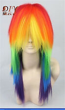 Gradient Straight Cosplay Wig Little Pony Rainbow Dash Anime Hair Gradient Long
