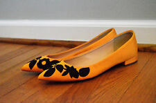 JCrew $158 Embroidered Pointed-Toe Flats 9.5 Tangelo Yellow Shoes F7987