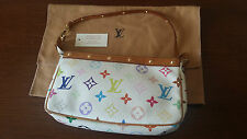 Original Louis Vuitton Tasche Pochette multicolor weiß  Monogram Canvas