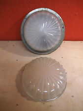 Art Deco Chrome & Glass Interior Light Fitting & Spare Cover - Boat or Car 1930s