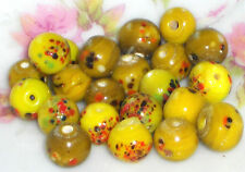 #557c Vintage glass beads millefiori  Shabby Yellow Red 8mm speckled NOS