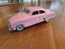 "1954 Pontiac Chieftan Pink Minister delux tin friction toy car 10"" vintage India"