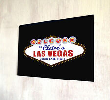 Personalised with your name Las Vegas Cocktail Bar A4 metal plaque Shabby Chic
