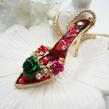 Fashion Rose Flowers Crystal Red High-heeled Shoe Pendant Necklace Sweater Chain
